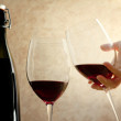 Toasting with red wine — Stock Photo