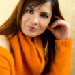 BEAUTIFUL BRUNETTE GIRL WITH WOOL PULLOVER — Stock Photo #19373905