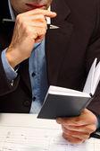Zakenman baan vergadering plannen — Stockfoto