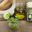Royalty-Free Stock Photo: Pesto sauce with ingredients and kitchen utensils