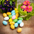Easter eggs with floral decorations - Stock Photo