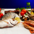 RAW FISH SELECTION WITH VEGETABLES — Stok fotoğraf