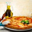 Pizzmargheritwith hot seasoning — Foto Stock #25136011
