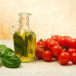 Oil, basil and tomato — Stok fotoğraf