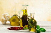 Oil flavored with herbs abd spices — Stock Photo