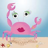 Cangrejo rosa en la playa — Foto de Stock