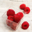 Raspberries inside glass jar  — Stock Photo