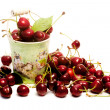 Cherries inside funny vase — Stock Photo
