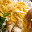 Raw tagliatelle with boletus and parsley — Stockfoto