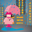 Young pink dressed girl under the rain — Stock Vector