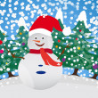 Vector de stock : Snow puppet with winter background