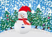 Sneeuw marionet met winter achtergrond — Stockvector