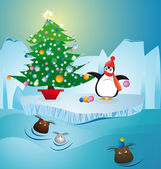 COLD PENGUIN MAKING CHRISTMAS TREE — Vector de stock