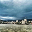 Stock Photo: Rapallo village in Liguriin windy and stormy day this week