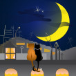 Couple od cats in love over urban roof — Image vectorielle