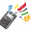 Calculator with financial symbols — Stock Photo