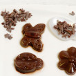 Chocolate mousse spring shapes — Stockfoto