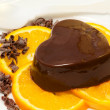 Chocolate pudding over orange slices — Stok fotoğraf
