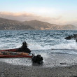 Stock Photo: Stormy seat sunset, santmargheritligure italy