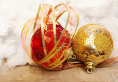 Christmas bauble with ribbon — Foto Stock