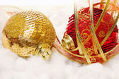 Christmas bauble with ribbon over snow — Foto Stock