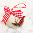 Felt christmas bauble with decorative reindeer — Stock Photo