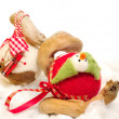 Felt christmas bauble with decorative puppets — Stock Photo