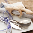 Holidays table setting with wood napkin ring — Stock Photo