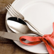 Elegant silverware setting — Stock Photo
