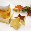 Star shape box with christmas decorations — Stock Photo