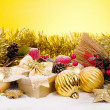 Christmas golden composition — Stockfoto