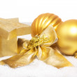 Christmas golden decorations — Stock Photo