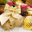 Golden christmas composition — Stock Photo