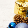 Blue christmas bauble background — Stock Photo