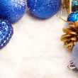 Blue and golden christmas background — Stock Photo