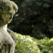 Photo: Old female statue against green background