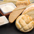 Bread shapes with raw ingredients — Stock Photo