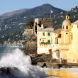 Stock Photo: Camogli glimpse with big wave crashing
