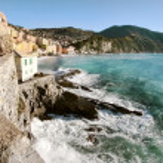Camogli with rough sea — Stock Photo