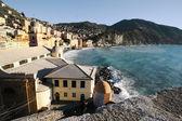 Camogli with stormy sea — Stock Photo