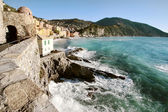 Camogli with rough sea — Stock Photo