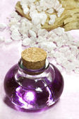 Lavender essential oil with bath salts — Stok fotoğraf