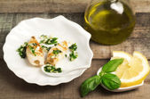 Grilled squid with garlic and parsley seasoning — Stock Photo