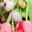 Stock Photo: Easter concept with pink tulips, bird nest and decorative eggs