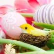 Stock Photo: Decorative bird in nest over easter background