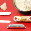 Stock Photo:  cannolo siciliano and confectioner utensils