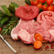 Stock Photo: Raw meat selection over rough wood