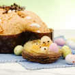 Easter composition with chicken and dove cake — Stock Photo #42410781