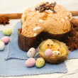 Stock Photo: Easter dove and easter eggs- colombpasquale