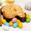 Stock Photo: Easter dove with chosolate eggs